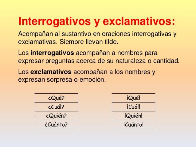 Resultado de imagen de INTERROGATIVOS Y EXCLAMATIVOS
